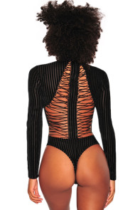 Black Velvet Ribbed Lace up Back Bodysuit