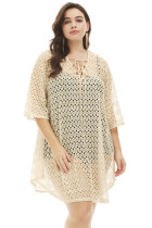 Apricot Crochet Lace up Plus Size Cover Up