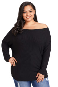 Black Plus Size Off Shoulder Ribbed Knit Top