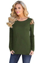 Army Green Crisscross Cold Shoulder Long Sleeve Shirt