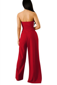 Red Asymmetric Split Leg Strapless Jumpsuit