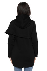 Black Tulip Wrap Cape Style Long Sleeve Hoodie