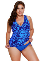 Blue Leaf Print Cami Swim Top and Panty Set