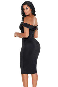 Rhinestone Waistband Black Off The Shoulder Midi Dress