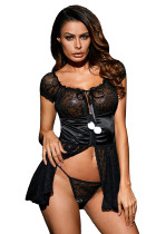 Bewitching Black Lace Babydoll with Pom-poms