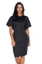 Black Flutter Sleeve Back Slit Sheath Dress