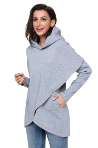 Grey Tulip Wrap Cape Style Long Sleeve Hoodie