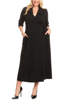 Black Collared Plus Size Tie Side Wrap Dress