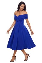 Royal Blue Crossed Off Shoulder Fit-and-flare Prom Dress