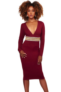 Burgundy Rhinestone Embellishment Bodycon Midi Dress
