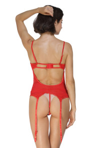 Red Midnight Affair Bustier Thong Handcuff