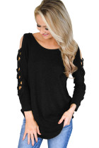 Black Hollow-out Crisscross Shoulder Top for Women
