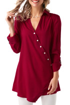 Red Roll Tab Long Sleeve Asymmetric Button Blouse