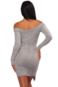 Gray V Neck Long Sleeve Tie Waist Knit Dress