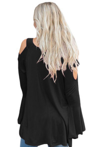 Black Open Shoulder Bell Sleeve Top
