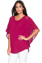 Rosy Lace Splice Batwing Sleeve Chiffon Blouse