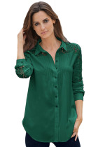 Jasper Lace Splice Long Sleeve Button Down Shirt