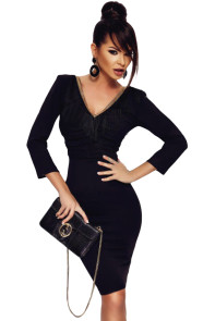 Black Fringe V Neck Long Sleeve Bodycon Dress