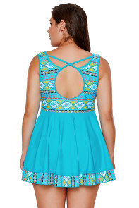 Blue Tribal Print Accent Swimdress and Short Set