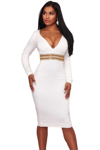 White Rhinestone Embellishment Bodycon Midi Dress