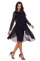 Black Lace Long Sleeve Double Layer Midi Dress