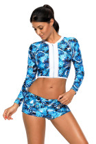 Long Sleeve Vibrant Print Cropped Rashguard Swimsuit