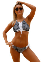 Fishnet Mesh Patchwork Black White Lace up Tankini