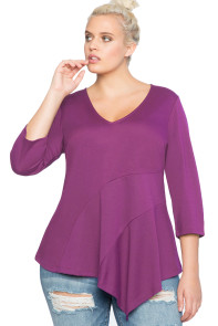 Purple Asymmetric Flounce Plus Size Peplum Top