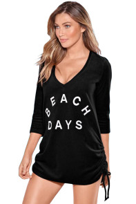 Black Ruched Tie Side V Neck Beach Cover Up