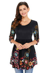 Cute Floral Print Black Elegant Long Top