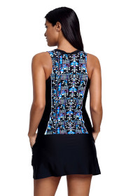 Slim Your Figure Fuzzy Print Accent Skirtini Swimsuit