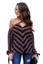 Red White Stripes Black Cold Shoulder Blouse