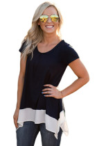 Black Asymmetric Chiffon Hem T-shirt Top