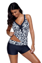 Navy Blue Leafage Print Tankini Swimsuit