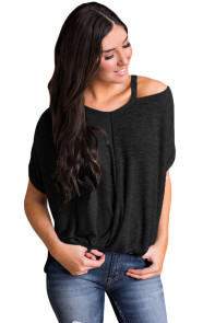 Relaxing Fit Cold Shoulder Knotted Top in Black