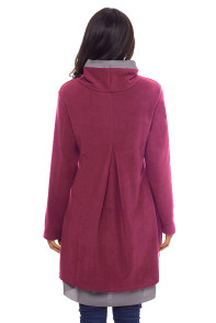 Cowl Neck Patchwork Burgundy Loose Fit Sweatshirt