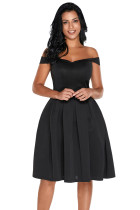 Black Foldover Off Shoulder Sweet Homecoming Dress