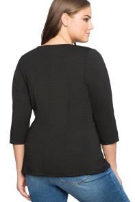 Black Asymmetric Flounce Plus Size Peplum Top