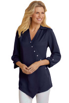 Royal Blue Roll Tab Long Sleeve Asymmetric Button Blouse