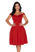 Red Foldover Off Shoulder Sweet Homecoming Dress