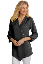 Black Roll Tab Long Sleeve Asymmetric Button Blouse