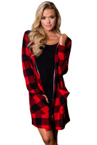 Red Black Checkered Button Up Hooded Cardigan