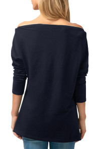 Blue Zipper Embellished Asymmetric Hem Blouse