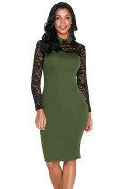 Olive Lace Sleeve Doll Collar Bodycon Retro Midi Dress
