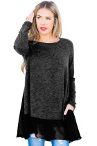 Chiffon Hemline Splice Dark Charcoal Long Sleeve Top