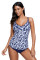 Navy White Leafy Print 2pcs Tankini Swimsuit