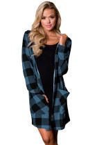 Blue Black Checkered Button Up Hooded Cardigan