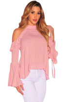 Pink Sexy Flirt Cold Shoulder Ruffle Flare Sleeve Top