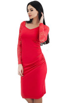 Red Lace Sleeve Embroidery Ruched Sheath Dress