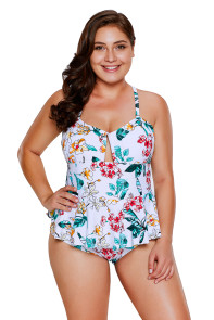 Tropical Floral Print Peplum One Piece Swimsuit